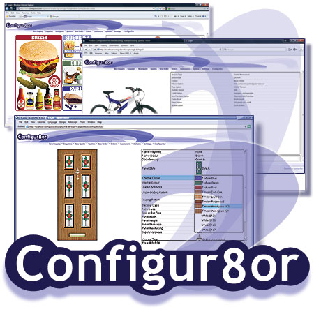 Collage of Configur8or screen shots. Guided buying / selling for Catering, Bicycles & doors.