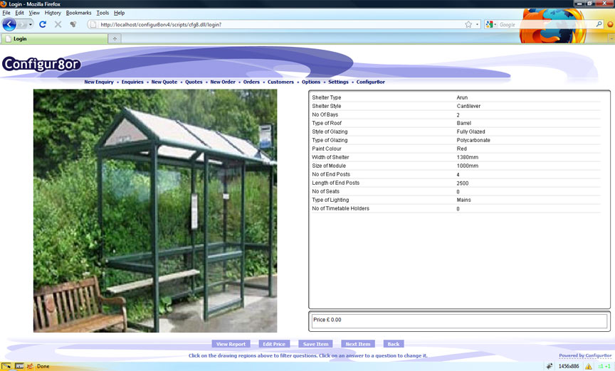 Screen shot from the product configurator system. Example make-to-order bus shelters 'product builder' system for the construction industry.