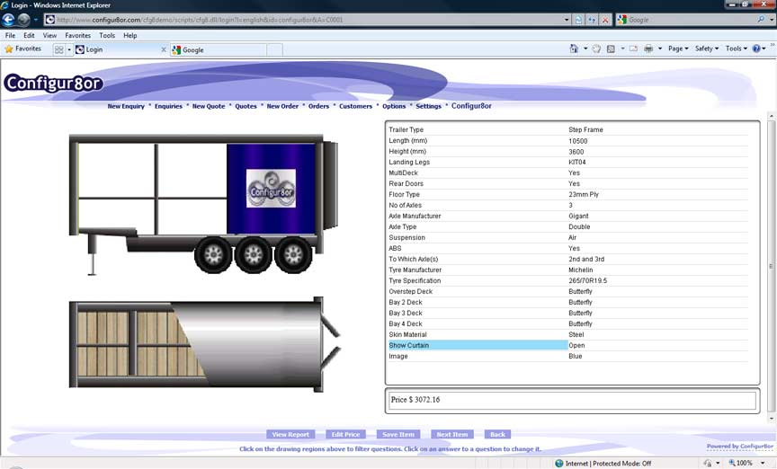 Screen shot of the sample Trailer product configurator using product builder software Configur8or.