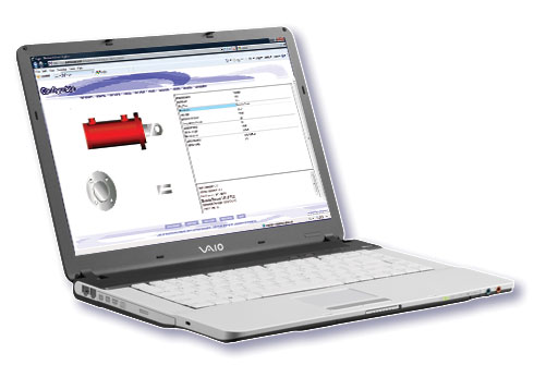 Laptop displaying Configur8or. Cylinder product builder with a pipe product on Internet Explorer 8.